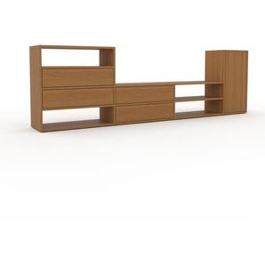 TV-Schrank Eiche - Fernsehschrank: Schubladen in Eiche & Türen in Eiche - 265 x 80 x 35 cm, konfigurierbar