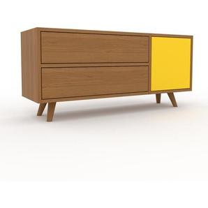 Lowboard Eiche - TV-Board: Schubladen in Eiche & Türen in Gelb - Hochwertige Materialien - 116 x 53 x 35 cm, Komplett anpassbar