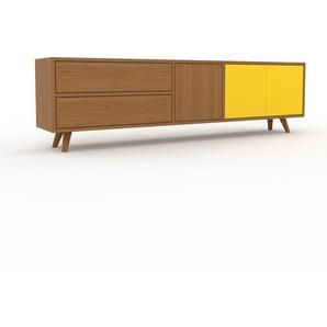 Lowboard Eiche - TV-Board: Schubladen in Eiche & Türen in Gelb - Hochwertige Materialien - 190 x 53 x 35 cm, Komplett anpassbar