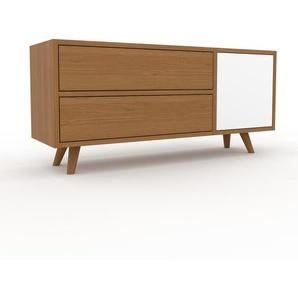 Lowboard Eiche - TV-Board: Schubladen in Eiche & Türen in Weiß - Hochwertige Materialien - 116 x 53 x 35 cm, Komplett anpassbar