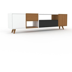 Lowboard Eiche - TV-Board: Schubladen in Eiche & Türen in Weiß - Hochwertige Materialien - 193 x 53 x 35 cm, Komplett anpassbar