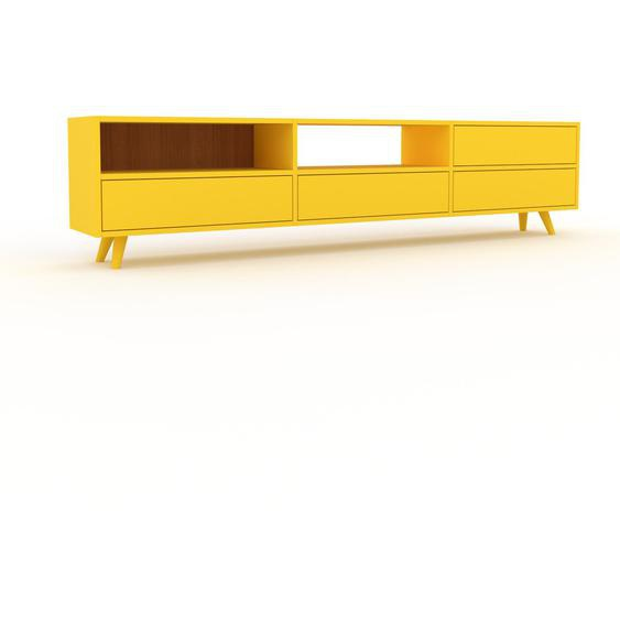 Lowboard Gelb - Designer-TV-Board: Schubladen in Gelb - Hochwertige Materialien - 226 x 53 x 35 cm, Komplett anpassbar