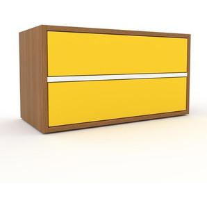 Lowboard Eiche - Designer-TV-Board: Schubladen in Gelb - Hochwertige Materialien - 77 x 41 x 35 cm, Komplett anpassbar