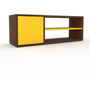 Lowboard Nussbaum - Designer-TV-Board: Türen in Gelb - Hochwertige Materialien - 116 x 41 x 35 cm, Komplett anpassbar