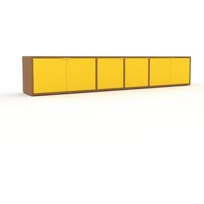 Lowboard Eiche - Designer-TV-Board: Türen in Gelb - Hochwertige Materialien - 229 x 41 x 35 cm, Komplett anpassbar