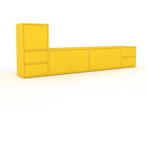Lowboard Gelb - TV-Board: Schubladen in Gelb & Türen in Gelb - Hochwertige Materialien - 229 x 80 x 35 cm, Komplett anpassbar