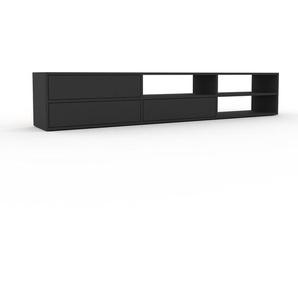 Lowboard Anthrazit - Designer-TV-Board: Schubladen in Anthrazit - Hochwertige Materialien - 226 x 41 x 35 cm, Komplett anpassbar