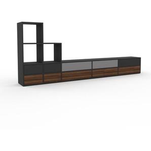 Lowboard Anthrazit - Designer-TV-Board: Schubladen in Nussbaum - Hochwertige Materialien - 303 x 118 x 35 cm, Komplett anpassbar