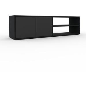 Lowboard Schwarz - Designer-TV-Board: Türen in Anthrazit - Hochwertige Materialien - 152 x 41 x 35 cm, Komplett anpassbar