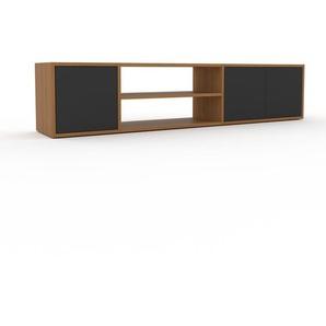 Lowboard Eiche - Designer-TV-Board: Türen in Anthrazit - Hochwertige Materialien - 190 x 41 x 35 cm, Komplett anpassbar