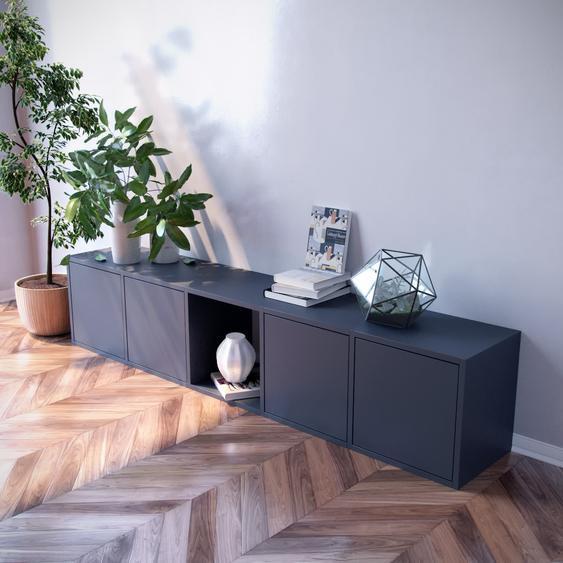 Lowboard Graphitgrau - Designer-TV-Board: Türen in Graphitgrau - Hochwertige Materialien - 195 x 41 x 35 cm, Komplett anpassbar