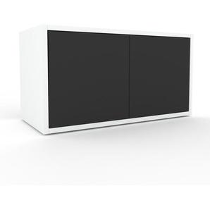 Lowboard Weiß - Designer-TV-Board: Türen in Anthrazit - Hochwertige Materialien - 77 x 41 x 35 cm, Komplett anpassbar