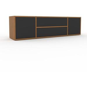 Lowboard Eiche - TV-Board: Schubladen in Anthrazit & Türen in Anthrazit - Hochwertige Materialien - 154 x 41 x 35 cm, Komplett anpassbar