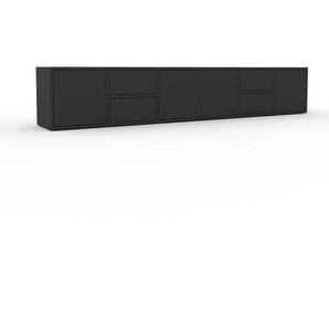 Lowboard Anthrazit - TV-Board: Schubladen in Anthrazit & Türen in Anthrazit - Hochwertige Materialien - 231 x 41 x 35 cm, Komplett anpassbar