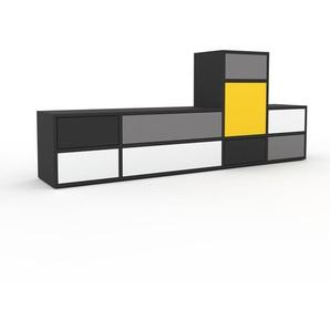 Lowboard Anthrazit - TV-Board: Schubladen in Weiß & Türen in Gelb - Hochwertige Materialien - 193 x 80 x 35 cm, Komplett anpassbar