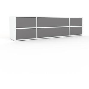 Lowboard Weiß - Designer-TV-Board: Schubladen in Grau - Hochwertige Materialien - 154 x 41 x 35 cm, Komplett anpassbar