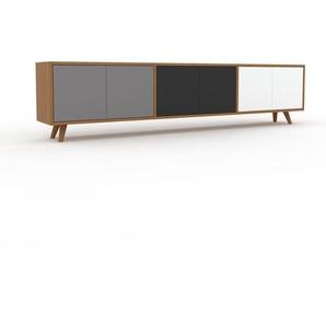 Lowboard Eiche - Designer-TV-Board: Türen in Grau - Hochwertige Materialien - 226 x 53 x 35 cm, Komplett anpassbar