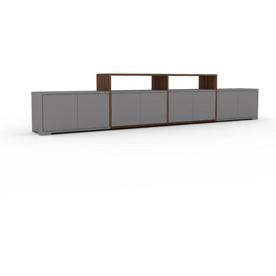 Lowboard Grau - Designer-TV-Board: Türen in Grau - Hochwertige Materialien - 301 x 62 x 35 cm, Komplett anpassbar