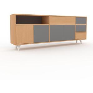 Lowboard Buche - TV-Board: Schubladen in Buche & Türen in Grau - Hochwertige Materialien - 190 x 72 x 35 cm, Komplett anpassbar