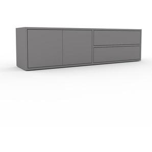 Lowboard Grau - TV-Board: Schubladen in Grau & Türen in Grau - Hochwertige Materialien - 152 x 41 x 35 cm, Komplett anpassbar