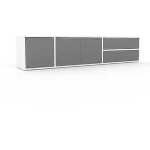 Lowboard Weiß - TV-Board: Schubladen in Grau & Türen in Grau - Hochwertige Materialien - 190 x 41 x 35 cm, Komplett anpassbar