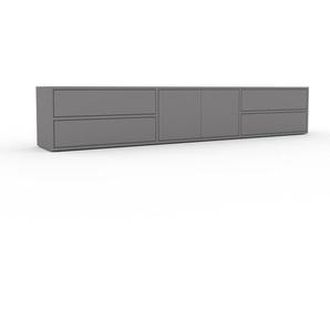 Lowboard Grau - TV-Board: Schubladen in Grau & Türen in Grau - Hochwertige Materialien - 226 x 41 x 35 cm, Komplett anpassbar