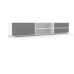 Lowboard Weiß - TV-Board: Schubladen in Grau & Türen in Grau - Hochwertige Materialien - 226 x 43 x 35 cm, Komplett anpassbar