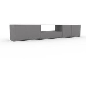 Lowboard Grau - TV-Board: Schubladen in Grau & Türen in Grau - Hochwertige Materialien - 229 x 41 x 35 cm, Komplett anpassbar
