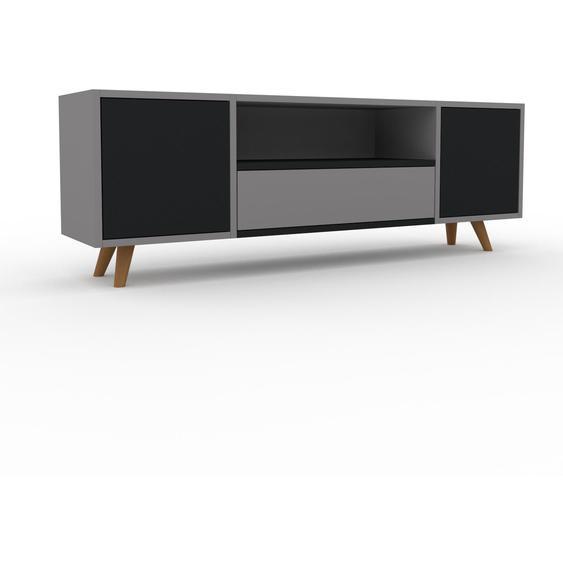 Lowboard Grau - TV-Board: Schubladen in Grau & Türen in Schwarz - Hochwertige Materialien - 154 x 53 x 35 cm, Komplett anpassbar