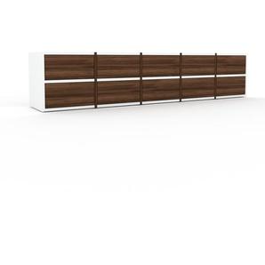 Lowboard Nussbaum - Designer-TV-Board: Schubladen in Nussbaum - Hochwertige Materialien - 195 x 41 x 35 cm, Komplett anpassbar