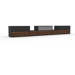 Lowboard Anthrazit - Designer-TV-Board: Schubladen in Nussbaum - Hochwertige Materialien - 303 x 41 x 35 cm, Komplett anpassbar