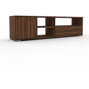 Lowboard Nussbaum - TV-Board: Schubladen in Nussbaum & Türen in Nussbaum - Hochwertige Materialien - 154 x 43 x 35 cm, Komplett anpassbar
