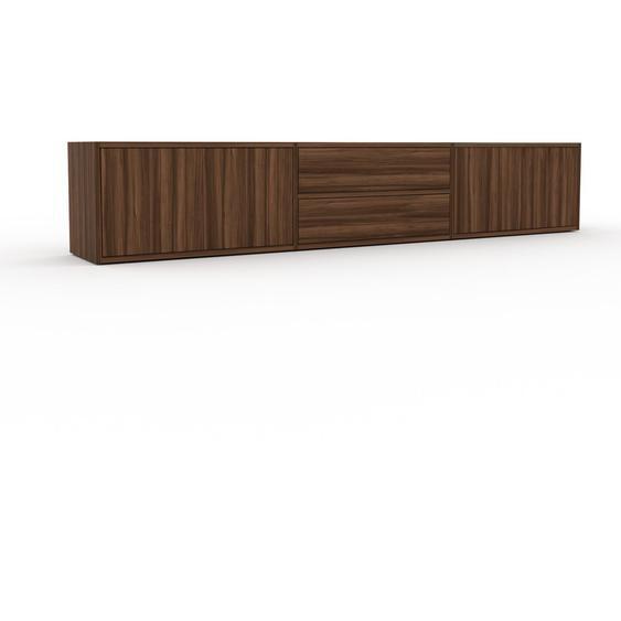 Lowboard Nussbaum - TV-Board: Schubladen in Nussbaum & Türen in Nussbaum - Hochwertige Materialien - 226 x 41 x 35 cm, Komplett anpassbar