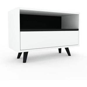 Lowboard Weiß - Designer-TV-Board: Schubladen in Weiß - Hochwertige Materialien - 77 x 53 x 35 cm, Komplett anpassbar