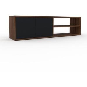 Lowboard Nussbaum - Designer-TV-Board: Türen in Schwarz - Hochwertige Materialien - 152 x 41 x 35 cm, Komplett anpassbar