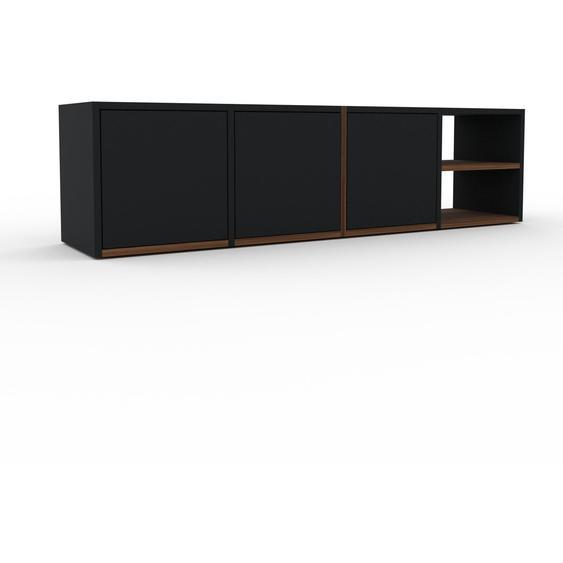 Lowboard Schwarz - Designer-TV-Board: Türen in Schwarz - Hochwertige Materialien - 156 x 41 x 35 cm, Komplett anpassbar