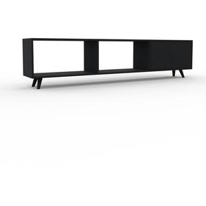 Lowboard Schwarz - Designer-TV-Board: Türen in Schwarz - Hochwertige Materialien - 226 x 53 x 35 cm, Komplett anpassbar
