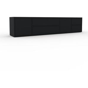 Lowboard Schwarz - TV-Board: Schubladen in Schwarz & Türen in Schwarz - Hochwertige Materialien - 193 x 41 x 35 cm, Komplett anpassbar