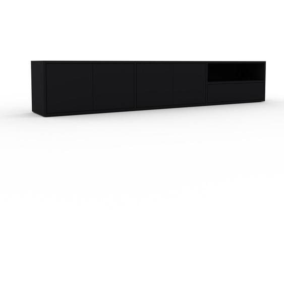 Lowboard Schwarz - TV-Board: Schubladen in Schwarz & Türen in Schwarz - Hochwertige Materialien - 226 x 41 x 35 cm, Komplett anpassbar