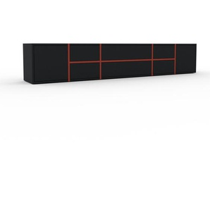 Lowboard Rot - TV-Board: Schubladen in Schwarz & Türen in Schwarz - Hochwertige Materialien - 231 x 41 x 35 cm, Komplett anpassbar