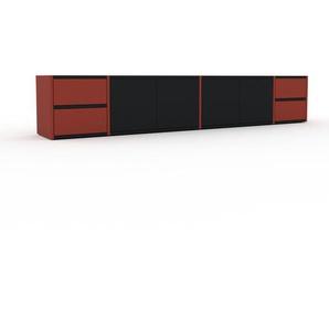 Lowboard Rot - TV-Board: Schubladen in Rot & Türen in Schwarz - Hochwertige Materialien - 229 x 41 x 35 cm, Komplett anpassbar