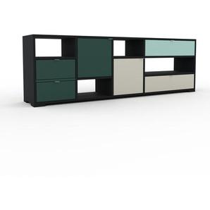 Lowboard Schwarz - TV-Board: Schubladen in Tannengrün & Türen in Flaschengrün - Hochwertige Materialien - 193 x 62 x 35 cm, Komplett anpassbar