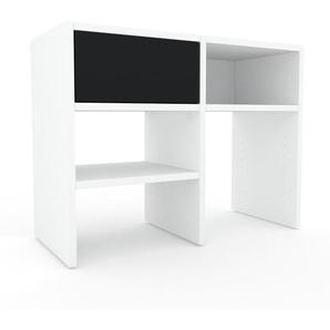 Lowboard Weiß - Designer-TV-Board: Schubladen in Schwarz - Hochwertige Materialien - 79 x 61 x 35 cm, Komplett anpassbar