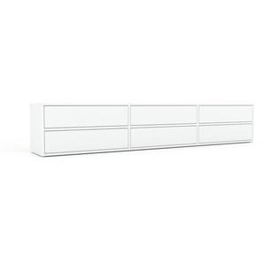 Lowboard Weiß - Designer-TV-Board: Schubladen in Weiß - Hochwertige Materialien - 226 x 41 x 35 cm, Komplett anpassbar