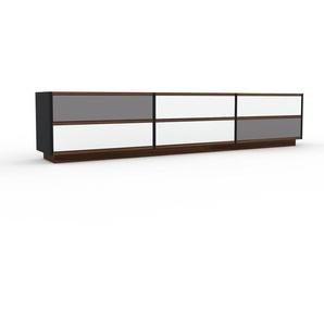 Lowboard Schwarz - Designer-TV-Board: Schubladen in Weiß - Hochwertige Materialien - 226 x 47 x 35 cm, Komplett anpassbar