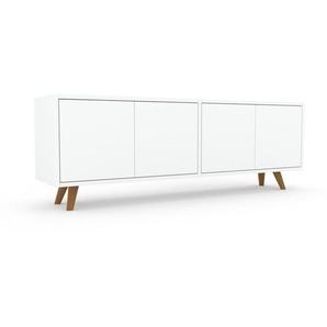Lowboard Weiß - Designer-TV-Board: Türen in Weiß - Hochwertige Materialien - 152 x 53 x 35 cm, Komplett anpassbar