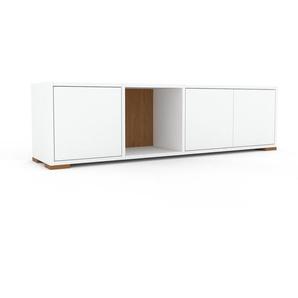 Lowboard Weiß - Designer-TV-Board: Türen in Weiß - Hochwertige Materialien - 154 x 43 x 35 cm, Komplett anpassbar