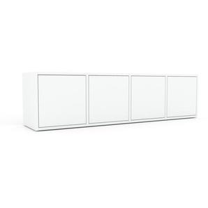 Lowboard Weiß - Designer-TV-Board: Türen in Weiß - Hochwertige Materialien - 156 x 41 x 35 cm, Komplett anpassbar