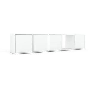 Lowboard Weiß - Designer-TV-Board: Türen in Weiß - Hochwertige Materialien - 195 x 41 x 35 cm, Komplett anpassbar