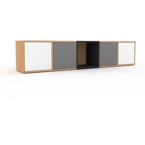 Lowboard Buche - Designer-TV-Board: Türen in Weiß - Hochwertige Materialien - 195 x 41 x 35 cm, Komplett anpassbar